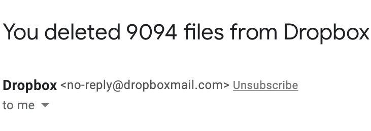 You deleted 9094 files from Dropbox